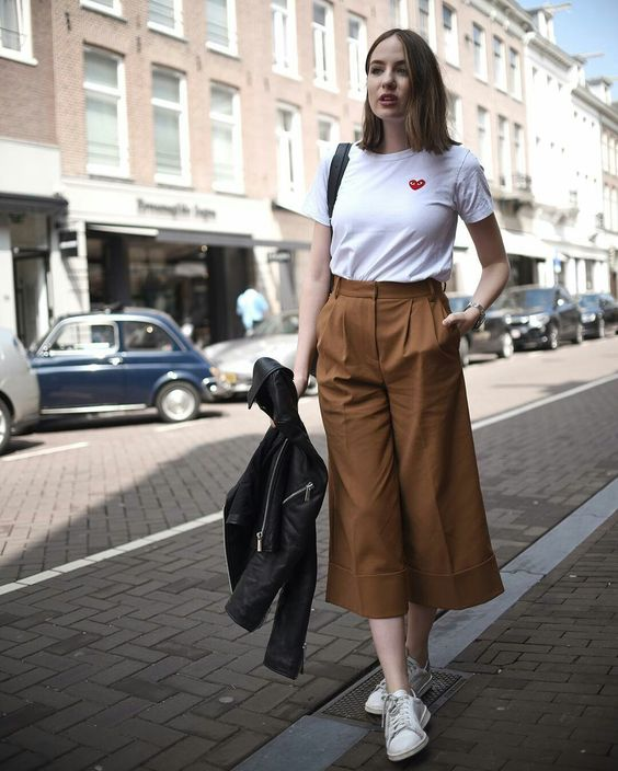 stylish brown culottes and white top