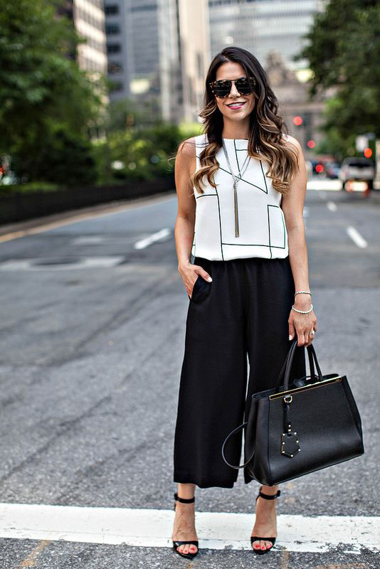 culottes and top for office wear in summer