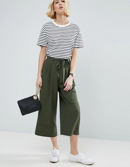 stylish olive green culottes and striped white top