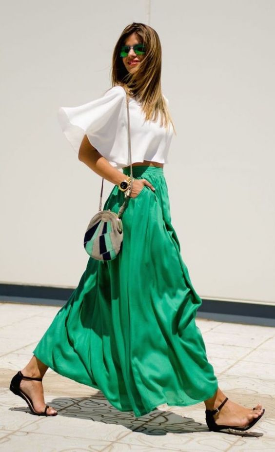 long green skirt and white top