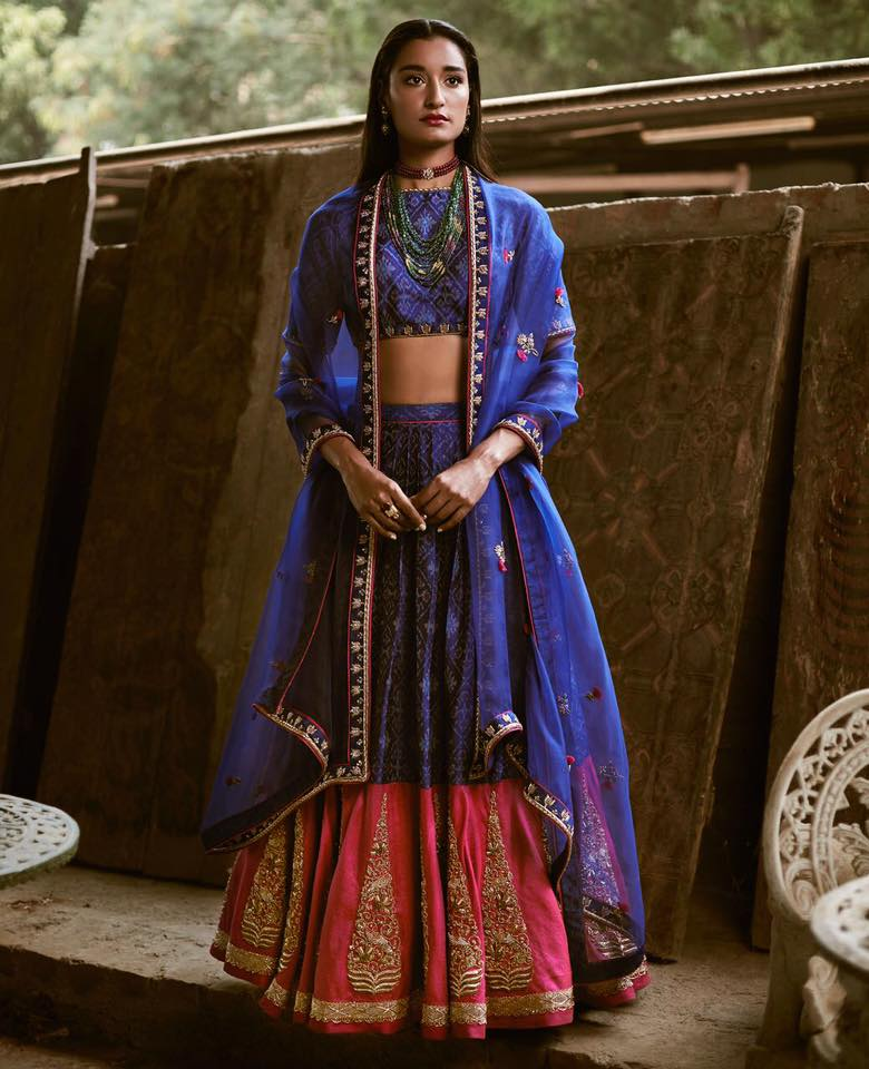 beautiful blue and pink lehenga at elan multidesigner store