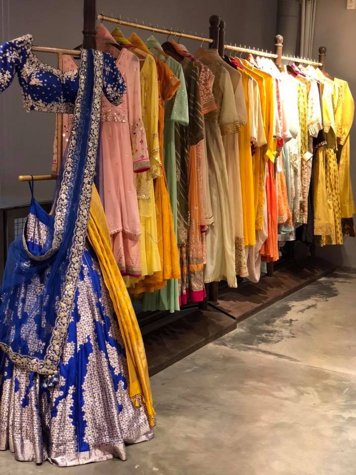 blue bridal oufits at monsoon designer store