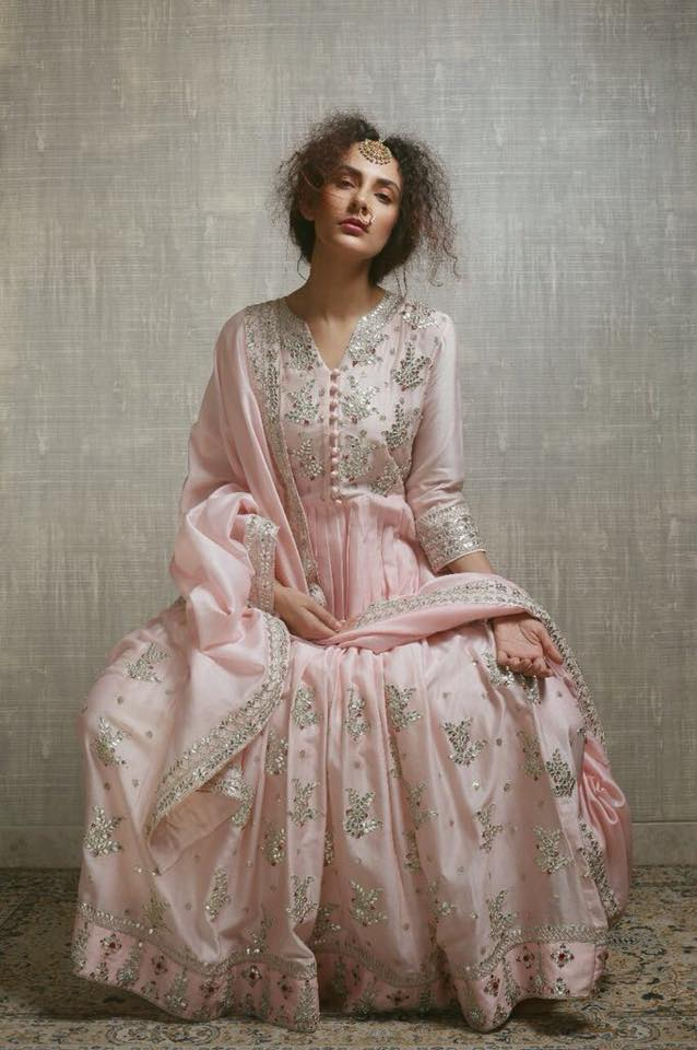 blush pink anarkali for wedding at monsoon store ahmedabad
