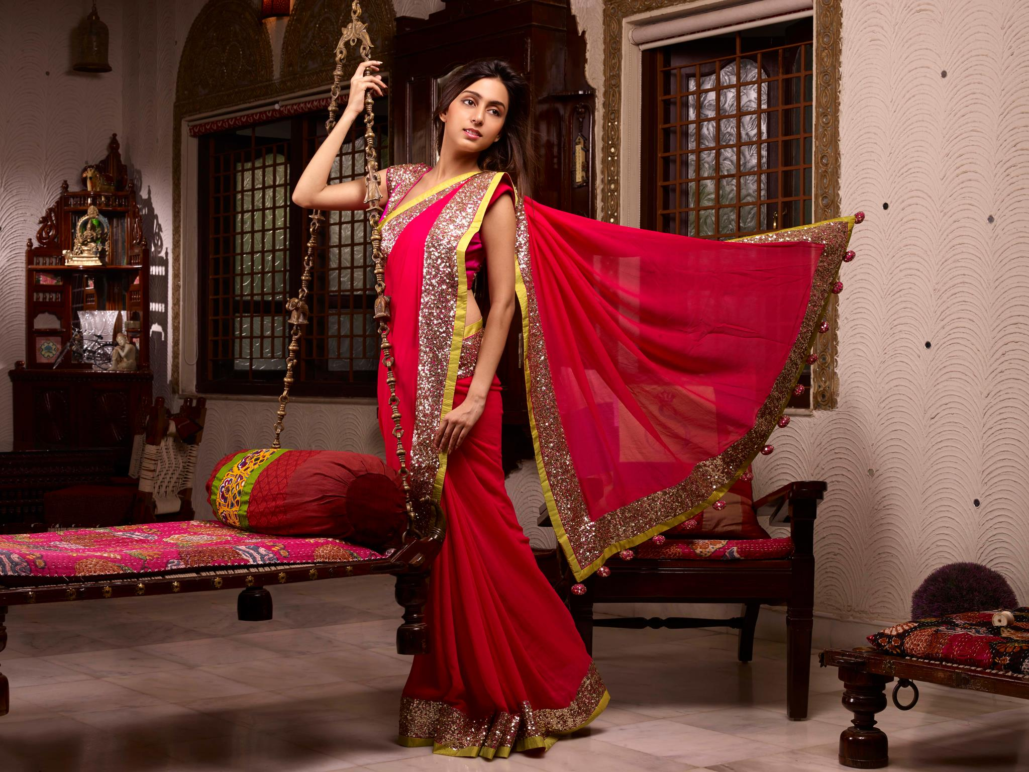 bright red pink saree for wedding at sans
