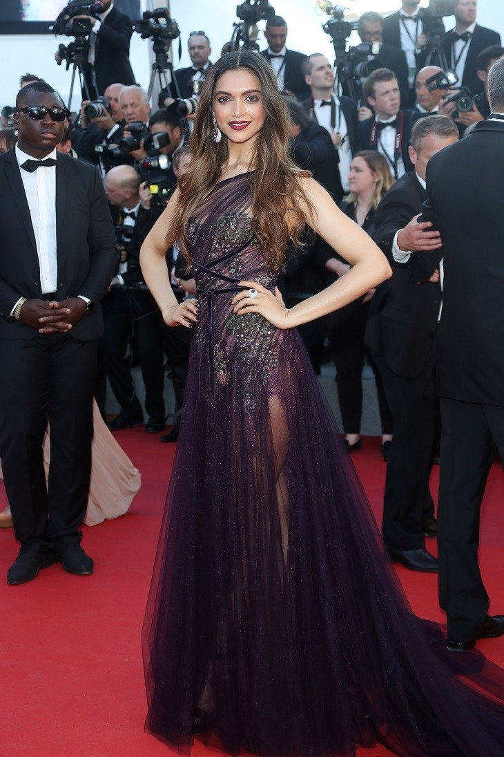 deepika at cannes red carpet in plum gown