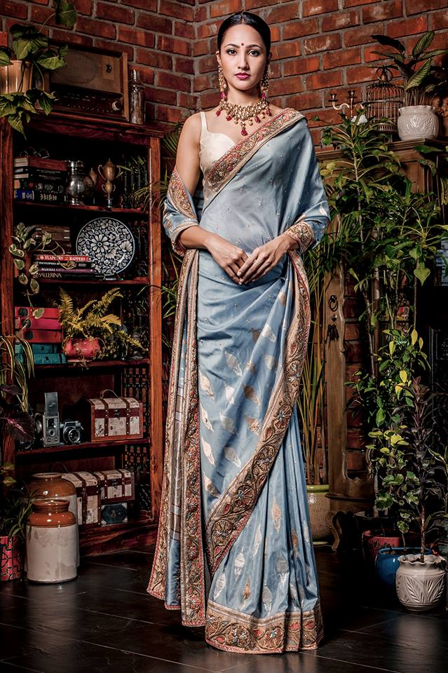 elegant party wear saree by designers darshi shah bhavin trivedi
