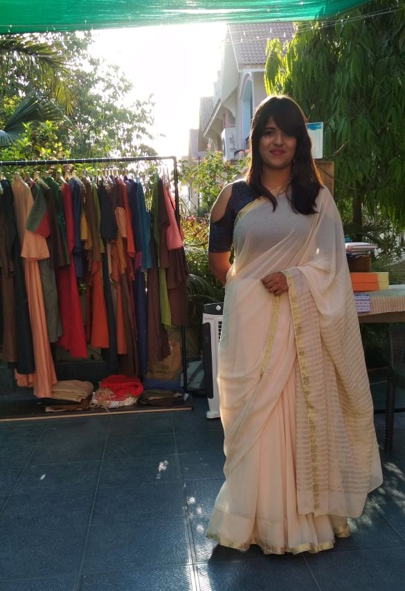 fashion designer and gallery owner Kshma kheskani in saree