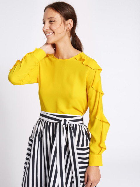 marks and spencer yellow top and striped black skirt