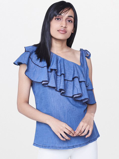 one shoulder ruffled blue AND top