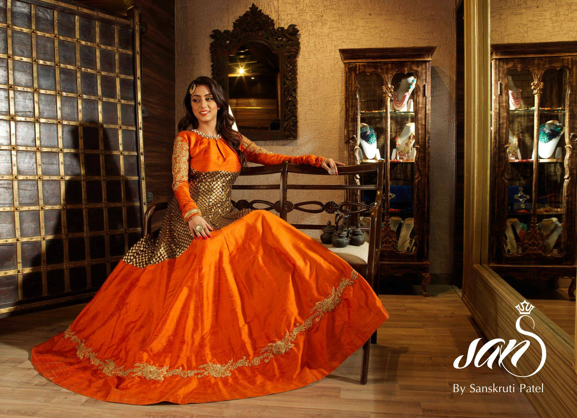 orange gown for wedding reception at sans