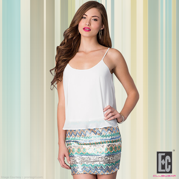 party wear skirt and white tank top of ec