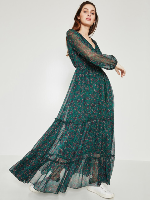 promod green tiered gown for western wear