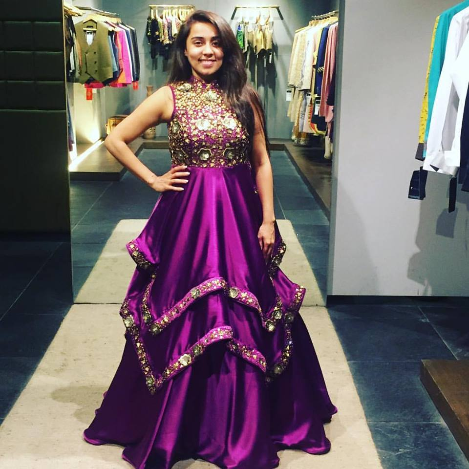 purple reception gown designed by anuraag k