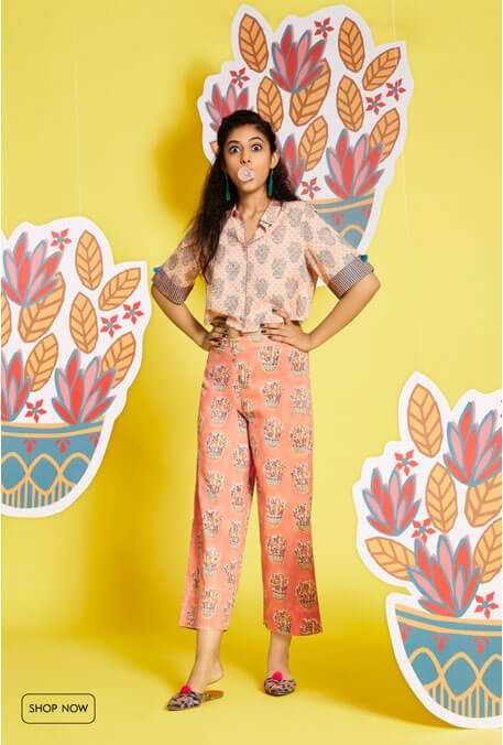 western wear top and pants in ethnic prints