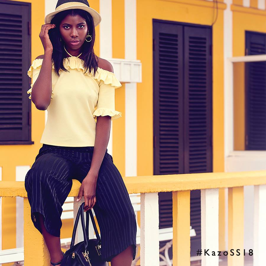 western wear yellow top and black pants by kazo