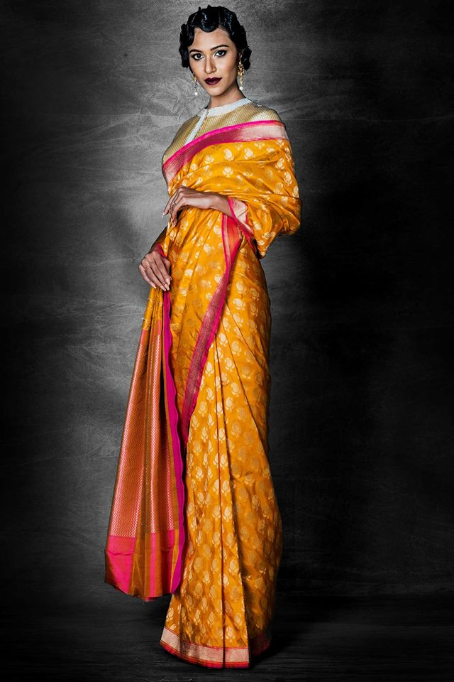 yellow banarasi saree designed by darshi shah bhavin trivedi