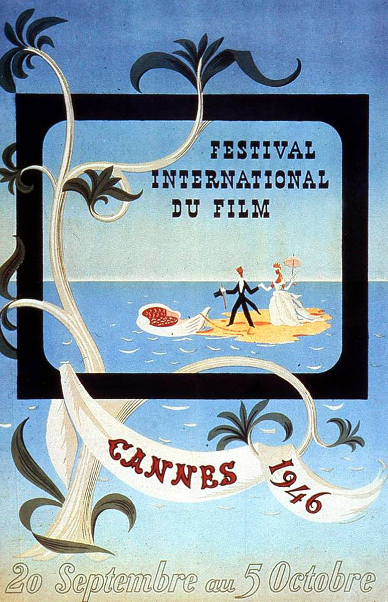 Official Cannes Poster, 1946, first Cannes film festival, history of Cannes, Film or fashion
