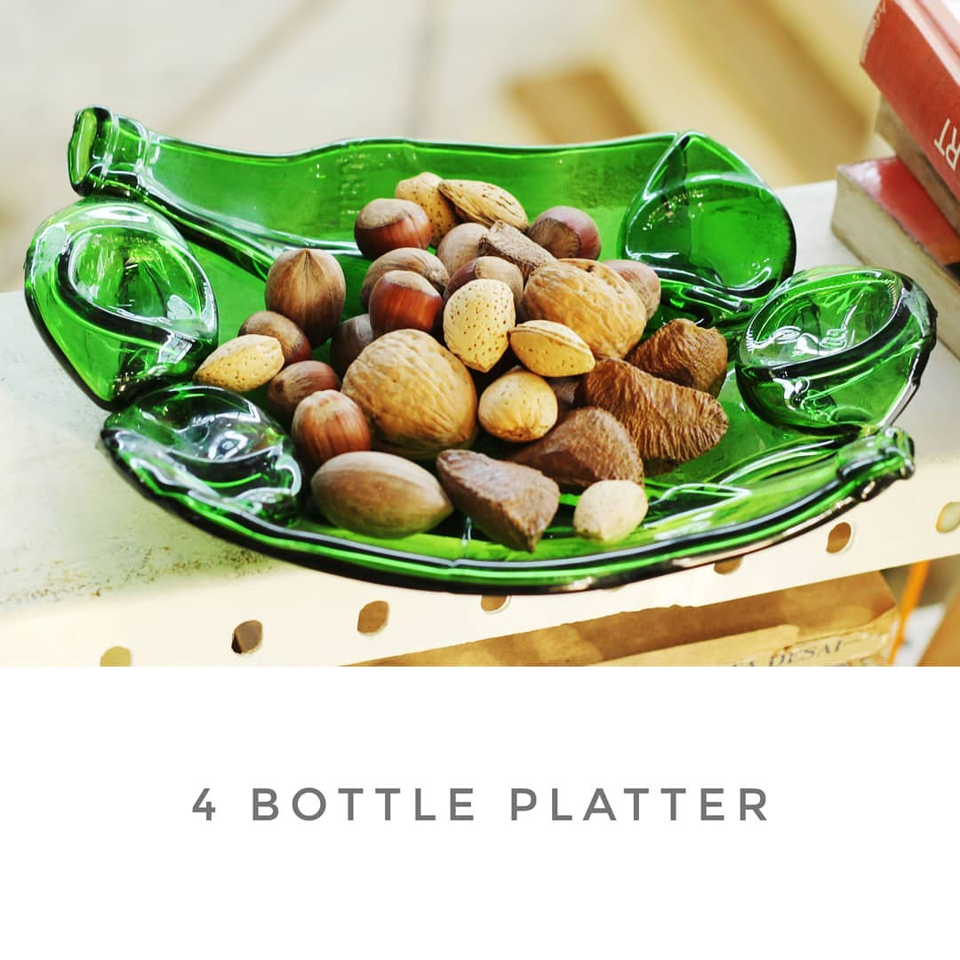 upcycled, glass serving platter