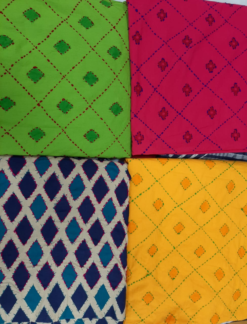 cotton fabrics, kantha work, indigo, moroccon prints, green, red, yellow, Baroda prints,