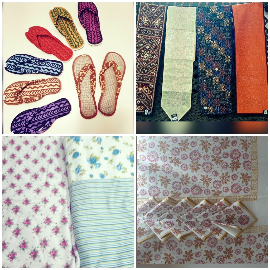 printed flip-flops, table runners, floral bed-sheets, table mats, bed sets, sejal handicrafts, vadodara,