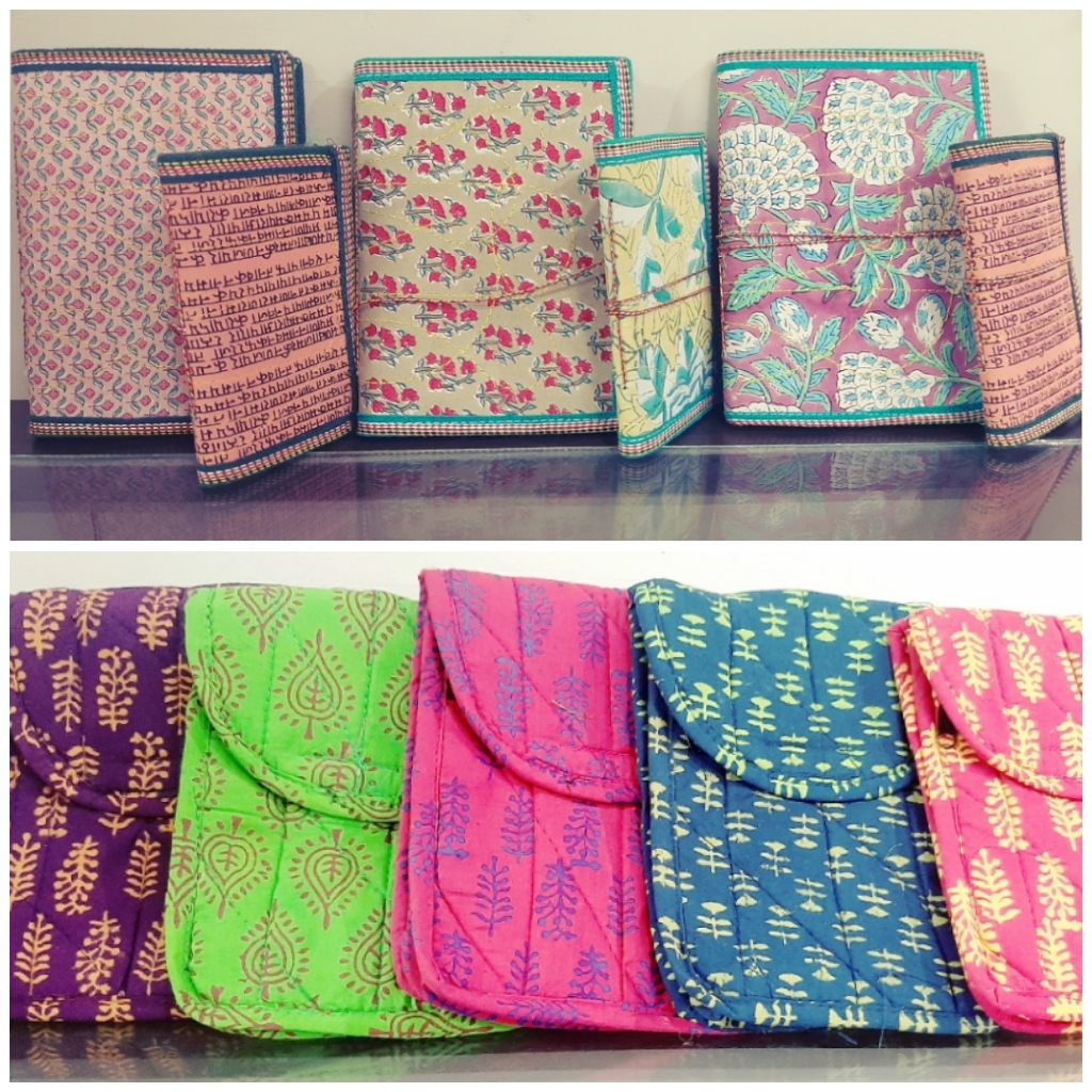 handcrafted diaries, fabric notebooks, printed diaries, Sejal Handicrafts, pretty pastels, neon pouch, printed pouch, purple, pink, indigo, fabric bags, ethnic pouch,