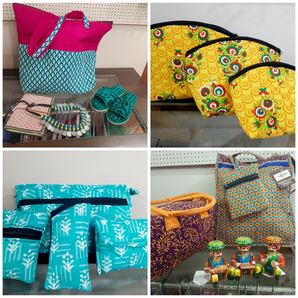 fabric bags, printed bags, printed pouches, travel pouch, sejal handicrafts,