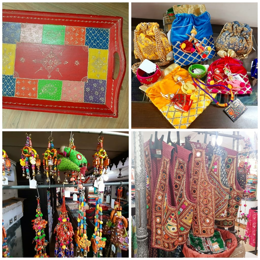ethnic tray, velvet potlis, mehendi giveaways, red, yellow, aabhala work, handicrafts, door hanging, vadodara shopping, art, navratri jackets,