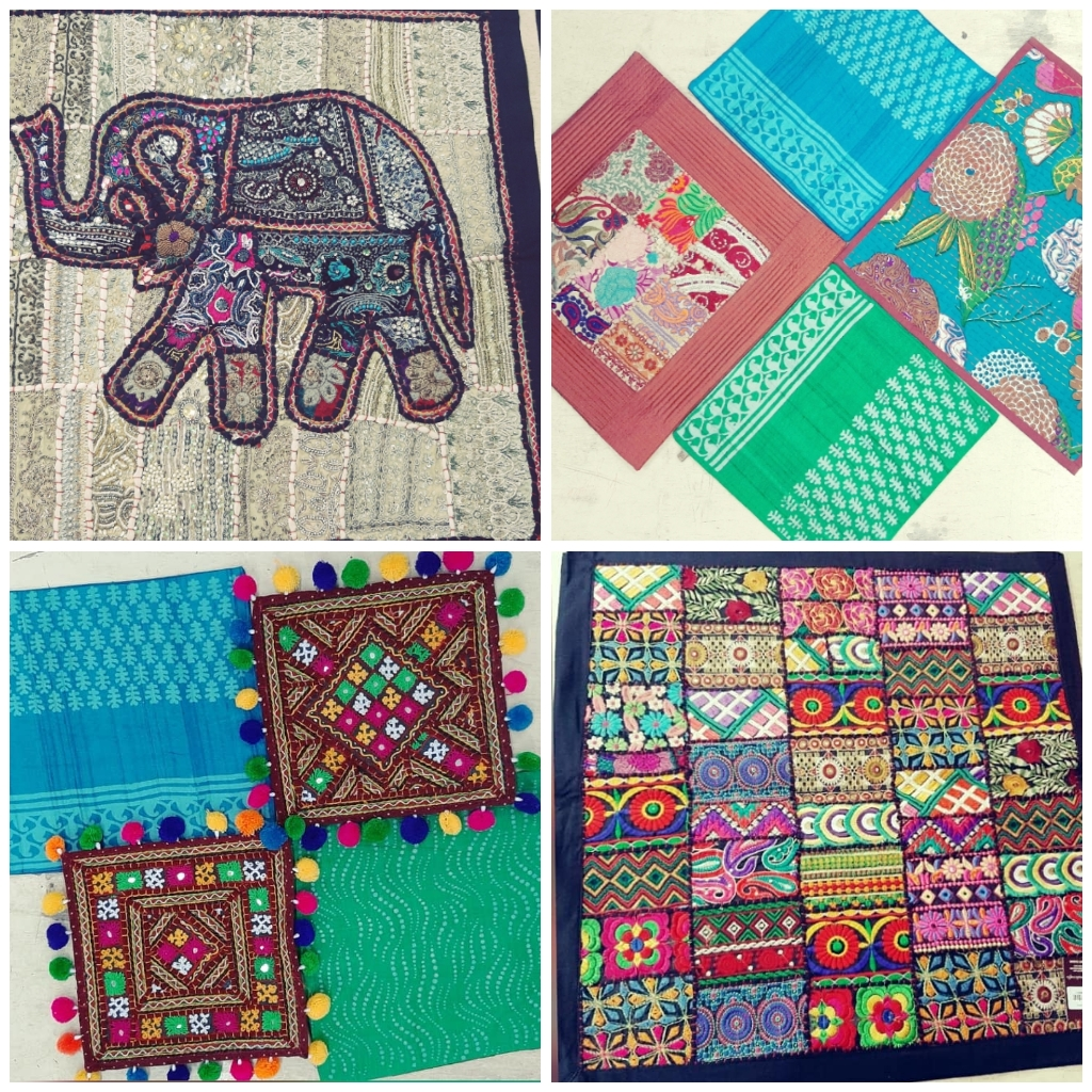cushion covers,hand embroidered, patchwork, bharat kam, cushion covers, pompoms, elephant motif,