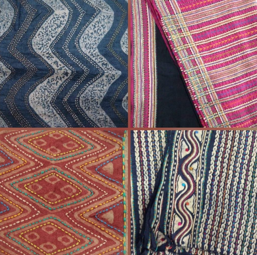 handwoven fabrics, kantha work, fabrics, cottons, indigo, rust orange, Bodhi, Vadodara, Baroda shopping,