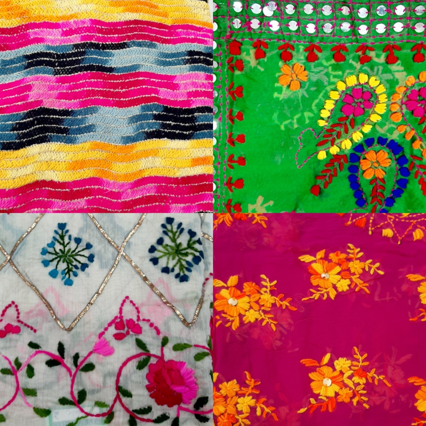 Phulkari dupatta, hand embroidered dupatta, colorful dupattas, odhanis, navratri, mirror work, chunni, pink, white, green, Baroda prints,
