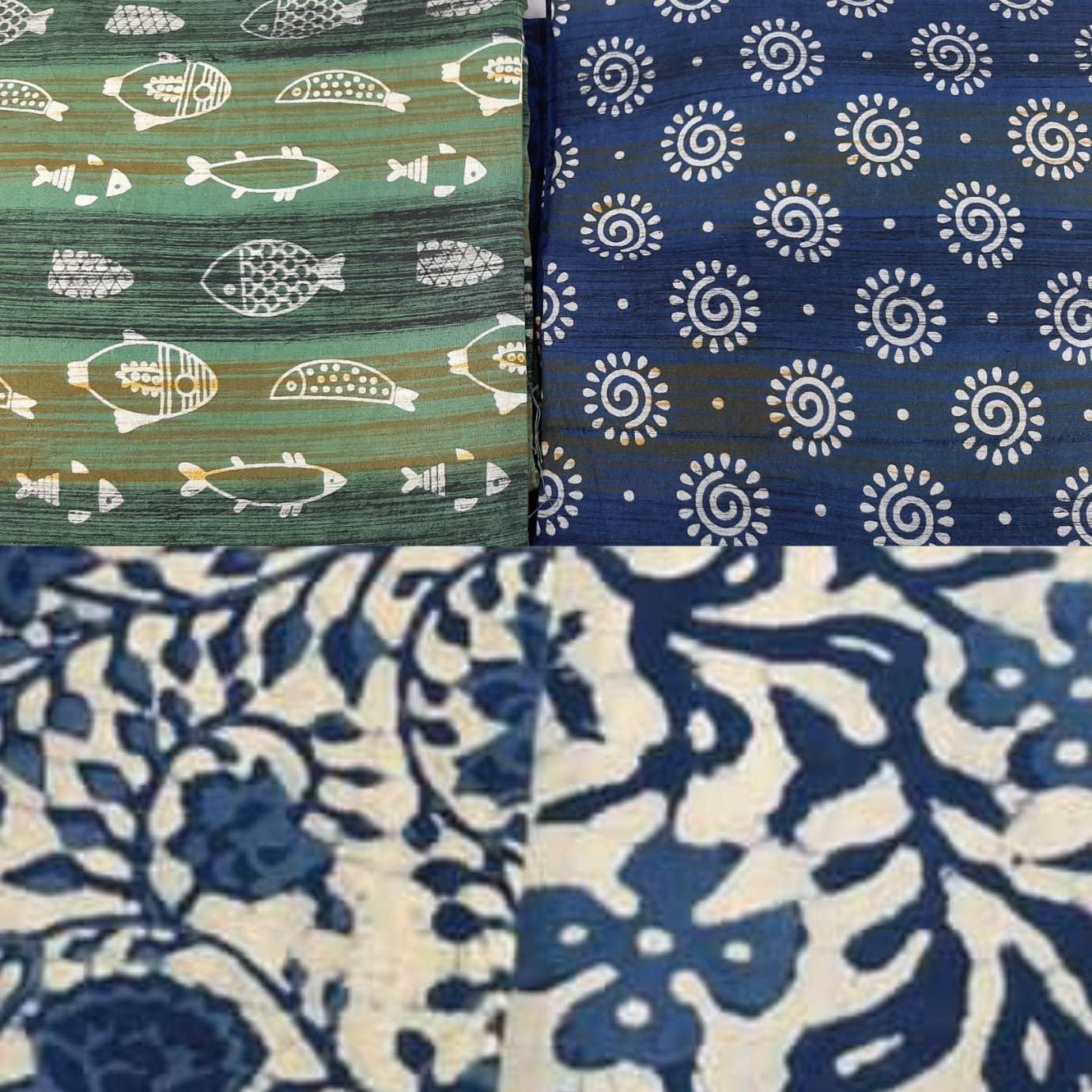 indigo, fish motif, aqua print, cotton fabric, quirky, Baroda prints, Vadodara,