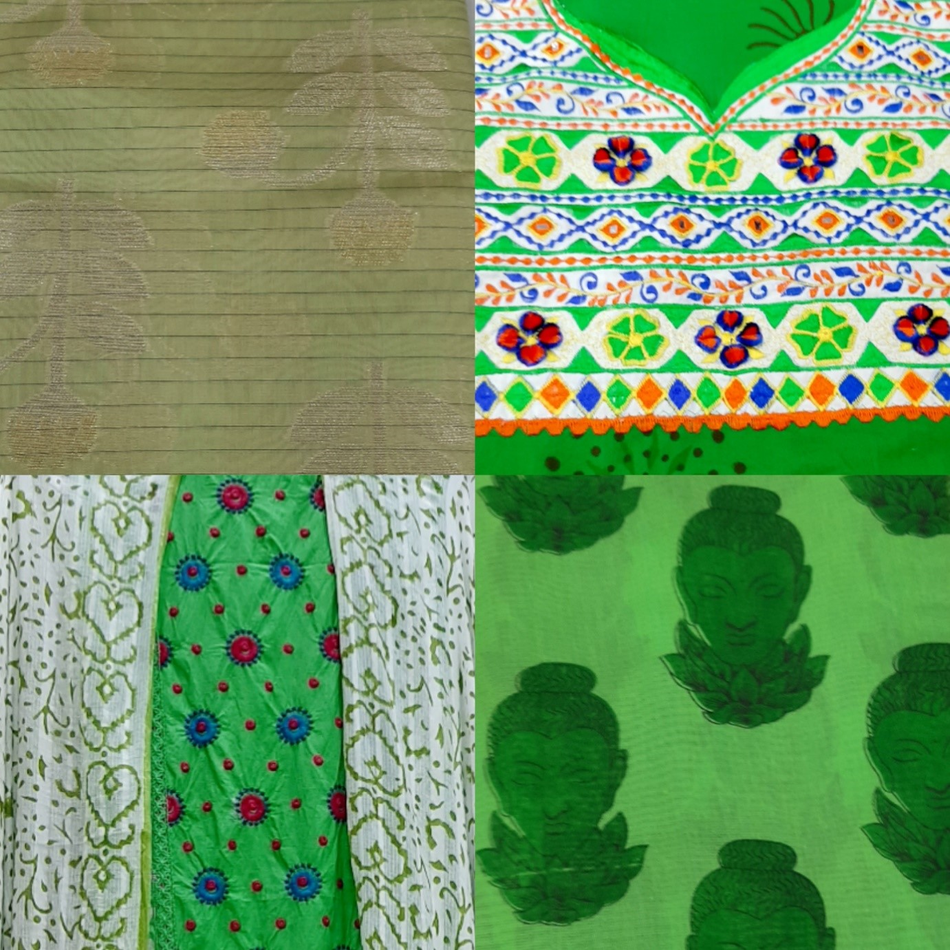dress material, green dress, kalamkari prints, embroidery, baroda prints, vadodara,