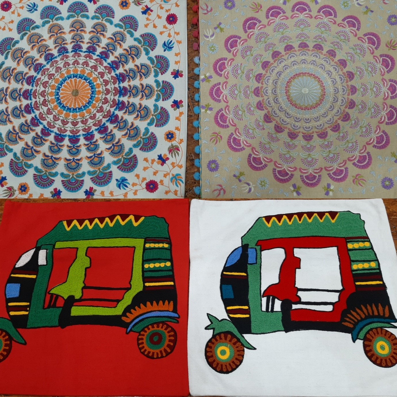 table mats, pompoms, quirky prints, auto rickshaw, cushion covers, home decor, embroidery, village craft, vadodara,