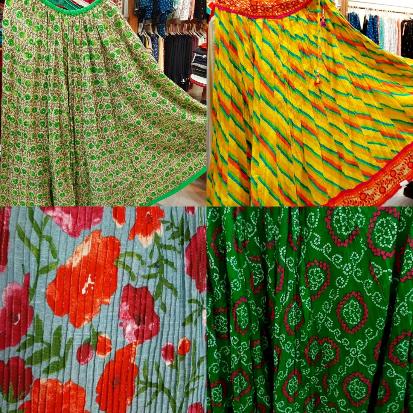 crushed skirts, long skirts, printed skirts, navratri, leheriya, bandhani, floral print, garba, chaniya choli,