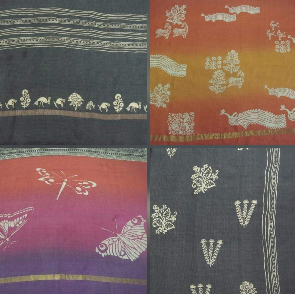 subtle shopping, vadodara, bodhi, Baroda, grey saree, peacock motifs, cotton sarees, art,