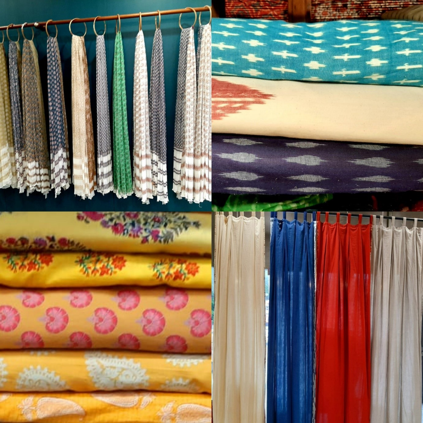 stoles, fabrics, seasons vadodara, curtains, cottons, yellow, ikat prints, floral motifs, home decor, shopping