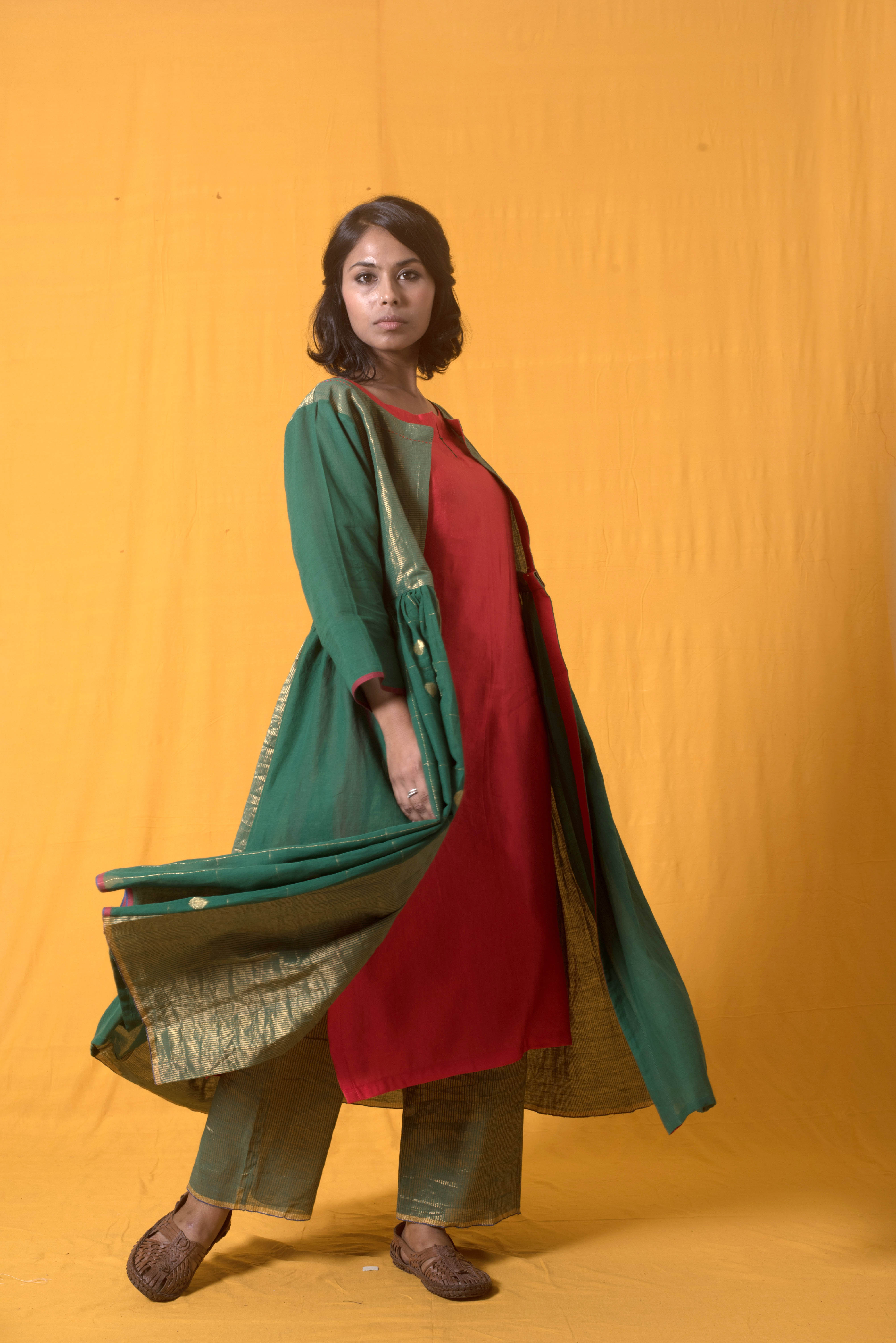 ciceroni- fashion - emerald green - ekaya banaras - silai studio - paromita banerjee - united colour of benetton - ucb - festive fashion - wedding lehenga - banarasi - jamdani - checked coat - jewel tones - lehenga choli - shades of green - fashion and lifestyle portal - November fashion - olive green saree - jamdani saree - jamdani kurta set
