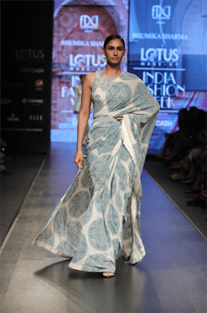 Ciceroni-pantone –fashion-trendspotting- Gingham Leggings by Zara- Open Front Jacket by Marks and Spencer- Leaf Shirt Dress by Nete.in- Block printed Linen Dress by Jaypore- Maxi Dress by Khara Kapas- Juggler Jumpsuit by Nete.in- Fringe Saree by Bhumika Sharma- Pleated Gown by Zwaan- classic blue- pantone colour of the year 2020 – shades of blue