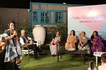 Geetika Saluja addressing invitees at Stellar women in design event in 2020 at Boho Homes