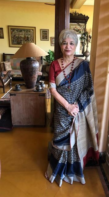 Laila Tyabji endorsing Bodhi saree made by Mala and Pradeep Sinha of Bodhi, a small sustainable business unit in Vadodara, India