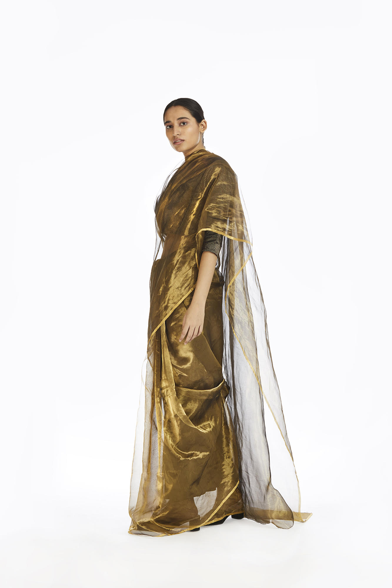 Handwoven Liquid Molten Gold Metallic Saree by AKAARO