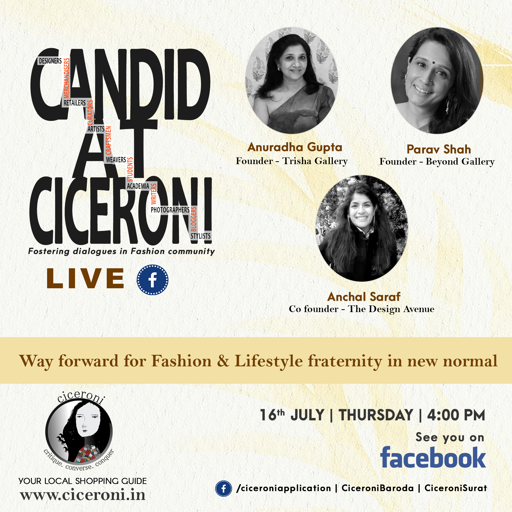 ciceroni -fashion business – future of fashion – business of fashion – Candid at Ciceroni Live – Candid at Ciceroni – Ciceroni Live – Panel discussion on  Ciceroni -Digital Media – Physical Presence – Retail stores – Instagram – Facebook – Digital Marketing – Online marketing – Online Shopping – E-commerce – Shopping online – Beyond Gallery Ahmedabad – The Design Avenue Surat – Trisha Gallery Baroda – Baroda – Surat – Ahmedabad – Fashion and Lifestyle Brands – Fashion Brands – Lifestyle Brands – luxury fashion – Shopping India – Indian Fashion Business