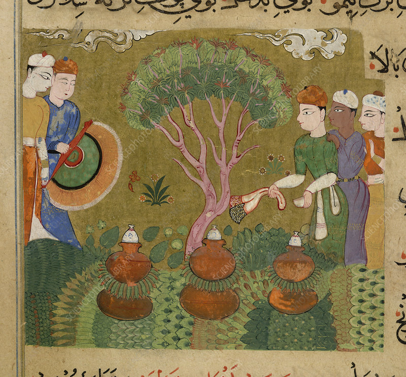 Preparation and distillation of flavourings and perfumes. Ghiyath Shahi is not shown. The miniature depicts the distillation of perfumes, three distilleries supervised by men, one with a large fan.