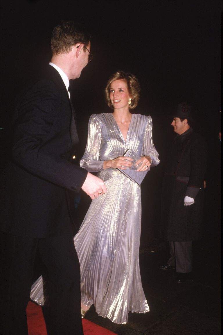 Lady Diana in metallic silver dress