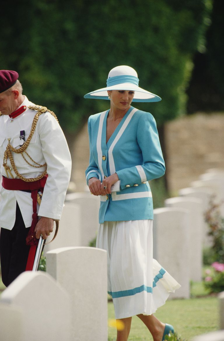Lady Diana in blue and white skirt suit