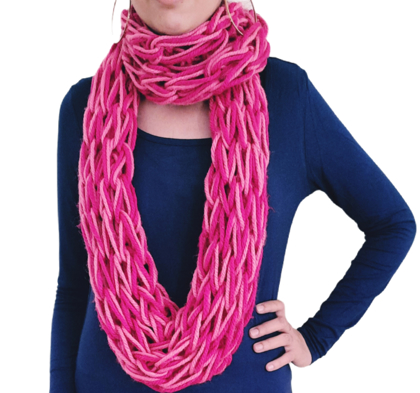 Double colour knitted cowl