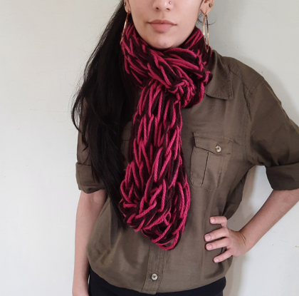 Cowl in Dual Shades of  Coffee & Dull Pink